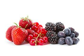 moras, arándanos, grosellas y fresas