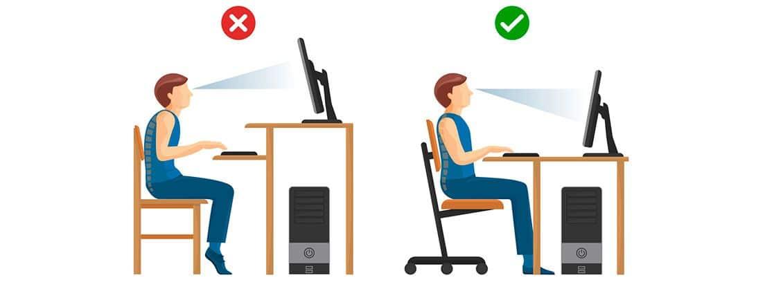 Posición al trabajar sentado: dibujos de posición correcta e incorrecta al trabajar delante de un ordenador