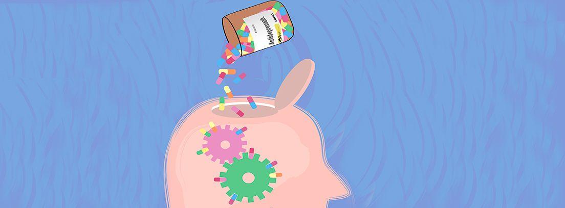 dibujo de una cabeza abierta alimentándose de vitaminas
