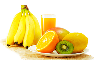 zumo de naranja, platanos