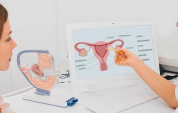 mujer en consulta con doctora con una imagen del endometrio