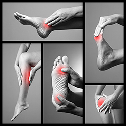 pies, rodillas y piernas con focos de dolor