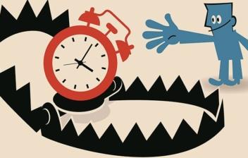 dibujo de un reloj dentro de una trampa de oso y un hombrecillo azul