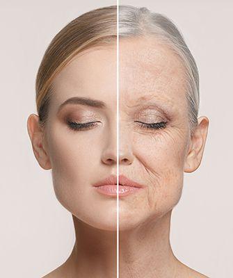 rostro de mujer, mitad joven, mitad mayor