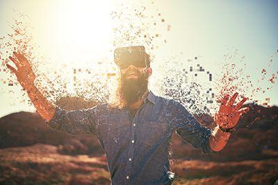 hombre con gafas de realidad virtual percibiendo colores