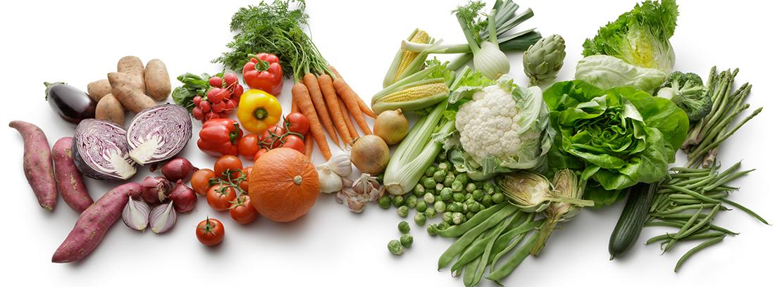 Conjunto de vegetales separados por colores