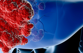 simulación de células malas atacando al hígado