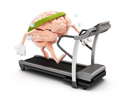 cerebro haciendo ejercicio en una cinta de andar