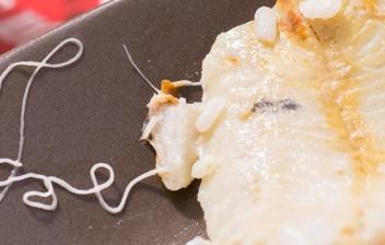 trozo de pescado con anisakis