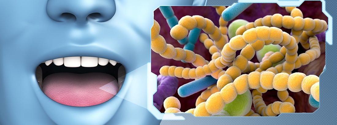 rostro azul con la boca abierta y cuadro de bacterias