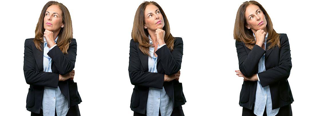 mujer en tres posiciones diferentes con gesto de duda