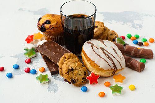 variedad de productos con exceso de azúcar