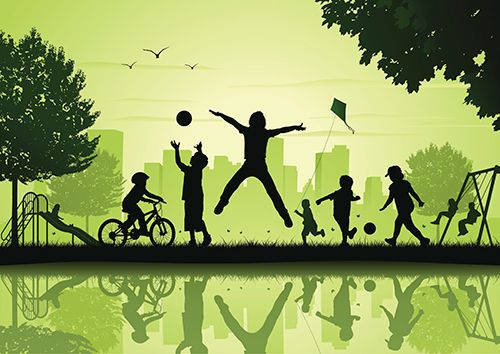 sombras de niños jugando en un parque