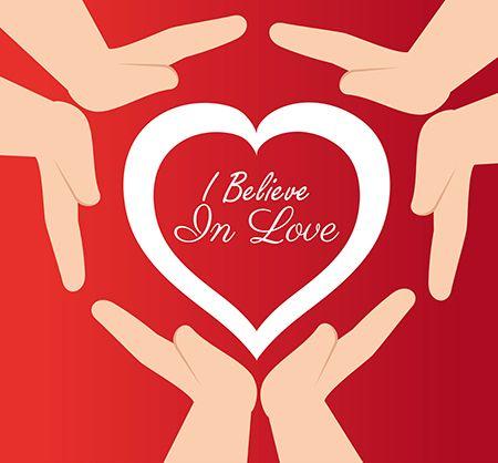 dibujo de manos protegiendo un corazón con la palabra creo en el amor