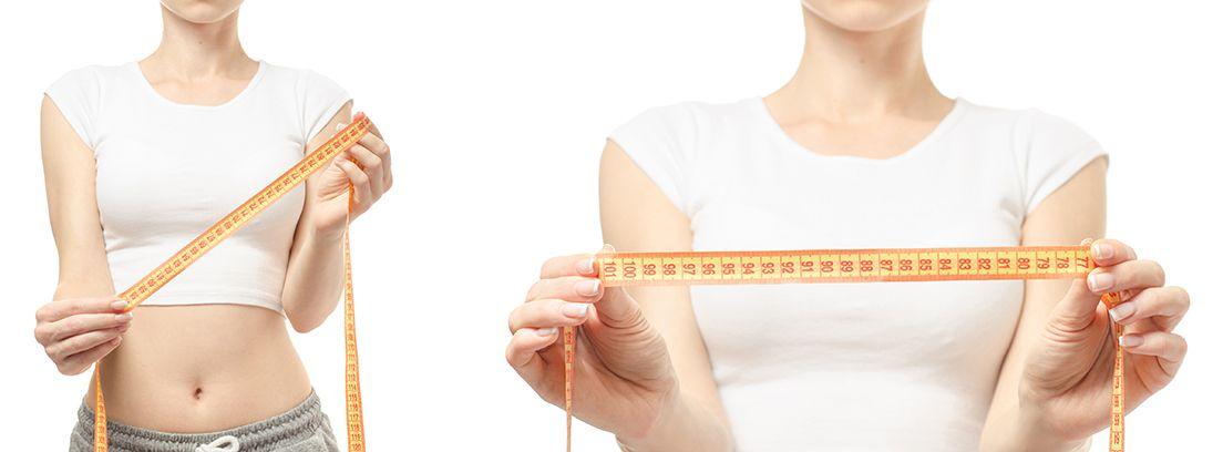 dos torsos de mujer con un metro