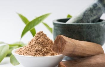 mortero, hojas y trozos de sándalo con un cuenco de sándalo molido