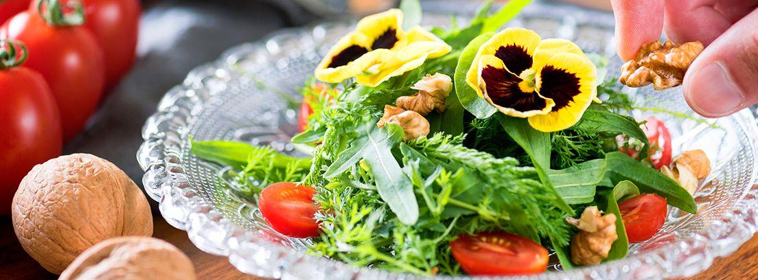 plato de ensalada con flores comestibles