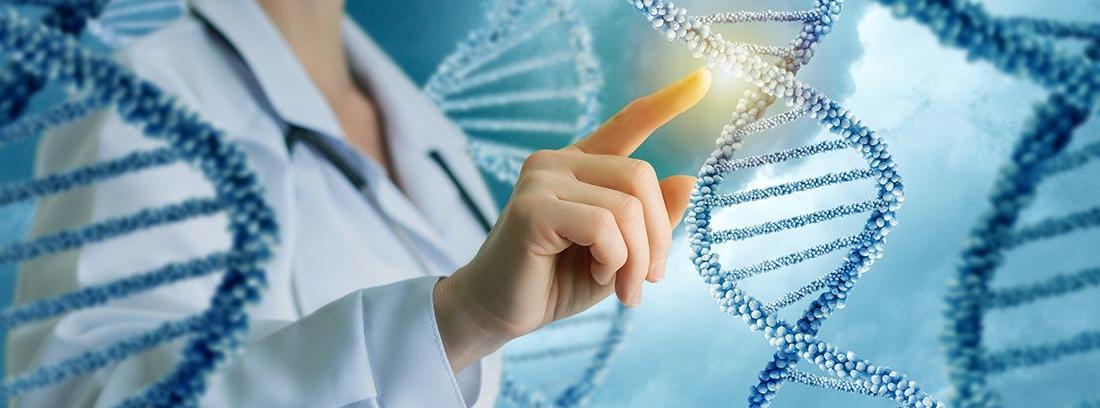 personal sanitario tocando una cadena de ADN