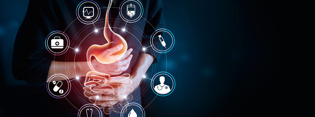 concepto de dolor de estómago con diferentes iconos de terminología médica
