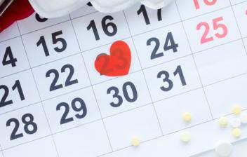 Pastillas, calendario de ciclo mensual femenino