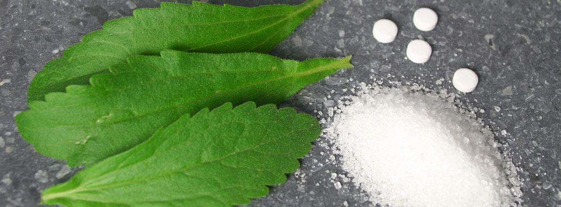 hojas de estevia, edulcorantes en pastillas y en polvo