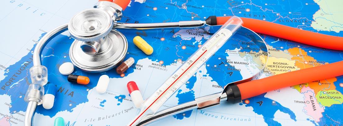 mapa de europa con medicamentos y un termómetro