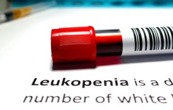 tubo de analítica de sangre y la palabra leucopenia escrita