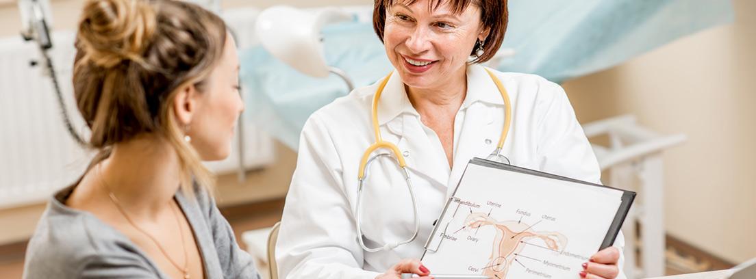 paciente en consulta de ginecología enseñando una imagen de un útero