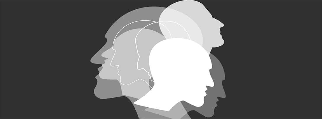Trastorno límite de la personalidad: dibujos de bustos superpuestos en concepto de trastorno de personalidad