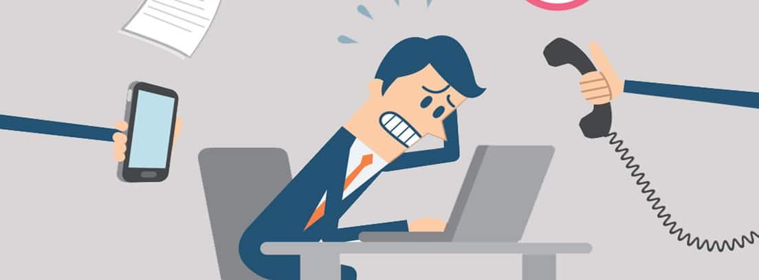 Cómo afrontar situaciones de nervios: ilustración de empresario nervioso