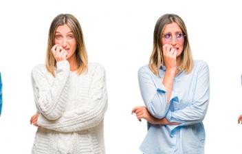 Afrontar situaciones que nos generan nervios: Collage de mujer llevando un look casual en blanco , nerviosa con las manos en la boca, morderse las uñas