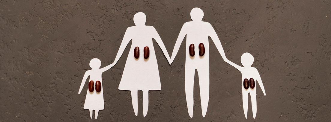 Enfermedad de Dent: silueta de fondo gris de una familia de papel, conciencia del concepto de enfermedad renal