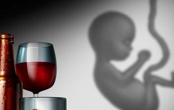 Síndrome alcohólico fetal: botella y copa de vino con un feto al lado en fondo gris