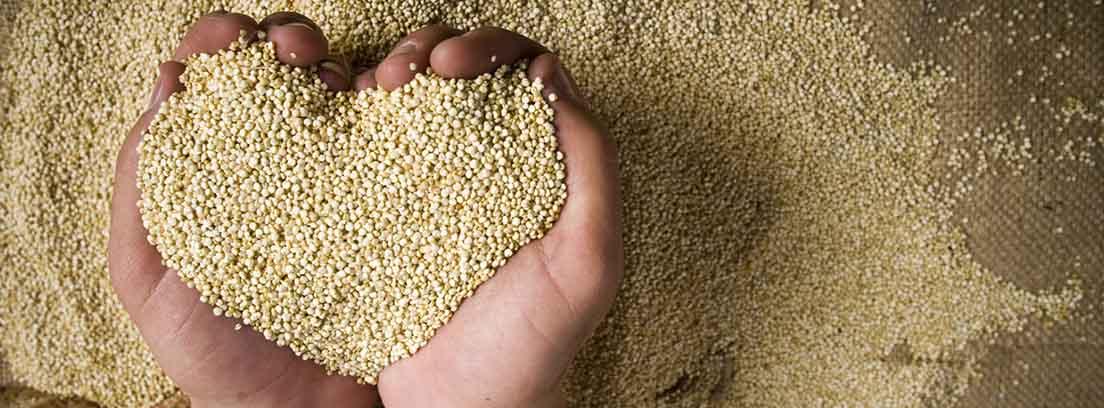 Ventajas de comer quinoa: manos cogiendo quinoa en forma de corazón