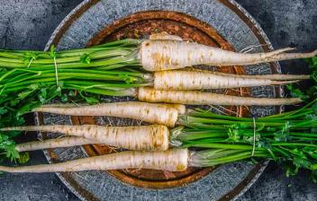 Beneficios de la chirivía: chirivías sobre plato
