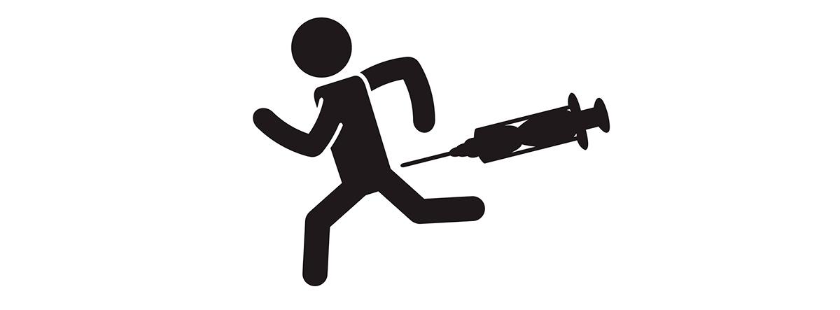 Tener miedo a las agujas: dibujo de muñeco corriendo delante de una jeringuilla