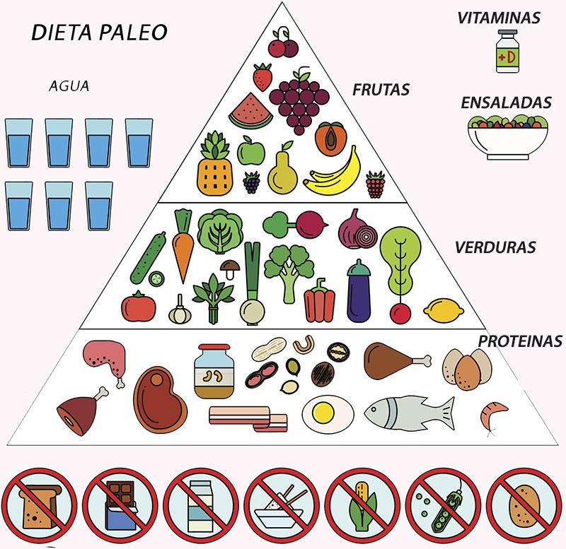 Dieta paleo: pirámide de alimentos de la dieta paleo